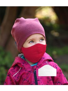 Bavlněná rouška DVOUVRSTVÁ S KAPSOU červená  + 1ks filtru - pro děti (cca 3-12 let)