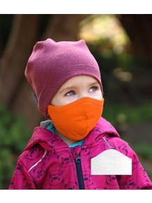 Bavlněná rouška DVOUVRSTVÁ S KAPSOU oranžová  + 1ks filtru - pro děti (cca 3-12 let)