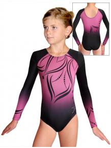 Gymnastický dres závodní D37d t133 černorůžová