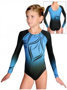 Gymnastický dres závodní D37d t133 černotyrkysová