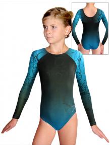 Gymnastický dres závodní D37d t131 černotyrkysová