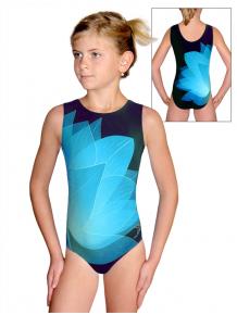 Gymnastický dres D37r t137 černotyrkysová