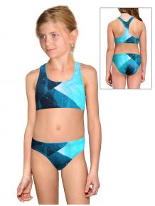 Dívčí sportovní plavky dvoudílné PD661 t208 tyrkysová
