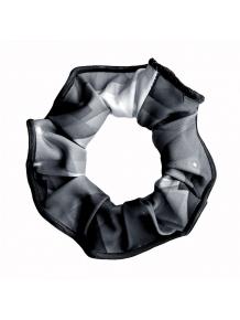 Gumička do vlasů - scrunchie - t140 černošedá