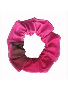 Gumička do vlasů - scrunchie - t122 černorůžová ombré