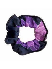 Gumička do vlasů - scrunchie - t137 černofialová
