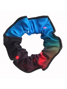 Gumička do vlasů - scrunchie - t144 modročervená