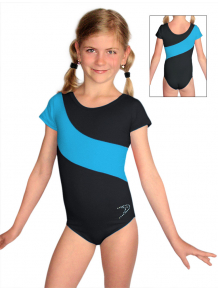 Gymnastický dres D37kk-dvx černo-tyrkysová