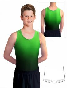 Gymnastický dres chlapecký, pánský D37chn t122 černozelená ombré