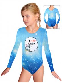 Gymnastický dres D37d t207 modrá s buldočkem