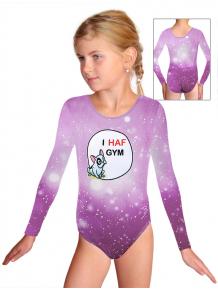 Gymnastický dres D37d t207 fialová s buldočkem