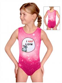 Gymnastický dres D37r t207 růžová s buldočkem