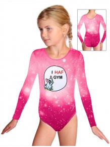 Gymnastický dres D37d t207 růžová s buldočkem