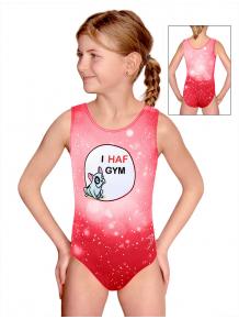 Gymnastický dres D37r t207 červená s buldočkem