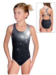 Dívčí sportovní plavky jednodílné PD623 t207 černošedá