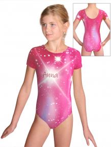 Gymnastický dres  D37kk t151 růžová se jménem