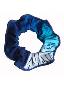 Gumička do vlasů - scrunchie - t150 modrá