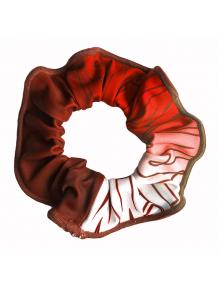 Gumička do vlasů - scrunchie - t150 červenooranžová