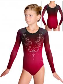 Gymnastický dres D37d t145 s tylovými rukávy červená