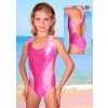 Dívčí sportovní plavky jednodílné PD513sl reflexní růžová
