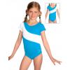 Gymnastický dres S37kk-dv tyrkysovo-bílá