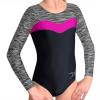 Gymnastický dres S37d-24 černo-šedo-tmavě růžová