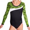 Gymnastický dres S37d-3 černo-reflexní zeleno-bílá