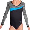 Gymnastický dres S37d-3 černo-šedo-tyrkysová