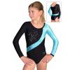 Gymnastický dres závodní D37d-10 černo-tyrkysová