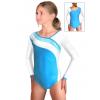 Gymnastický dres závodní D37d-16 tyrkysovo-bílá