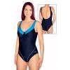 Dámské plavky jednodílné s kosticemi P11 tmavě modrá s tyrkysovou