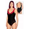 Dámské plavky jednodílné s kosticemi P11 černá s červenou