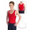 Gymnastický dres chlapecký D37chnl červeno bílý lesklý