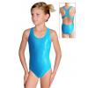 Dívčí sportovní plavky jednodílné PD622 tyrkysová metalíza