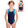 Dívčí sportovní plavky jednodílné PD624 tmavě modrá s tyrkysovou