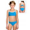 Dívčí sportovní plavky dvoudílné PD659 tyrkysová s bílou