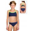 Dívčí sportovní plavky dvoudílné PD659 tmavě modrá s reflexní zelenou