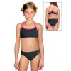 Dívčí sportovní plavky dvoudílné PD659 černá s reflexní růžovou