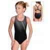 Dívčí sportovní plavky jednodílné PD623 t401 černošedé