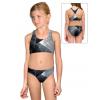 Dívčí sportovní plavky dvoudílné PD661 t208 černošedá