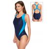 Dámské sportovní plavky jednodílné P627 tmavě modrá s tyrkysovou