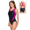 Dámské sportovní plavky jednodílné P627 černá s tmavě růžovou