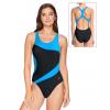 Dámské sportovní plavky jednodílné P628 černá s tyrkysovou