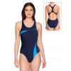 Dámské sportovní plavky jednodílné P629 tmavě modrá s tyrkysovou