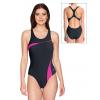 Dámské sportovní plavky jednodílné P629 černá s růžovou