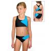 Dívčí sportovní plavky dvoudílné PD661 černo tyrkysové