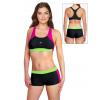 Dámské sportovní plavky dvoudílné s nohavičkou P664 černá s růžovou a reflexní zelenou