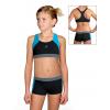 Dívčí sportovní plavky dvoudílné s nohavičkou PD664 černá s tyrkysovou a šedou