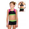 Dívčí sportovní plavky dvoudílné s nohavičkou PD664 černá s růžovou a reflexní zelenou