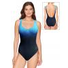 Dámské plavky jednodílné s kosticemi P601 t803 černotyrkysová